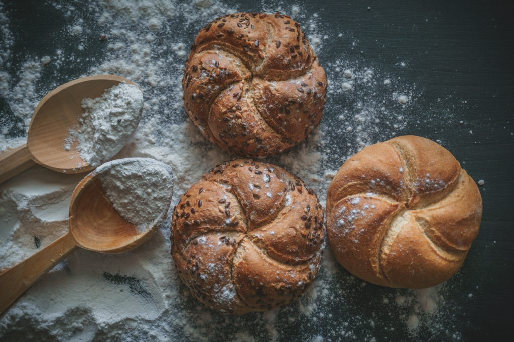 Bread with wheat flour sprinkled around.