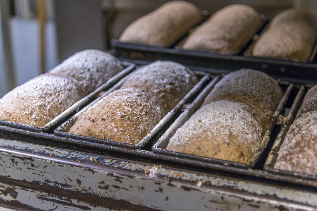Artisan loaves of bread on cooling rack.