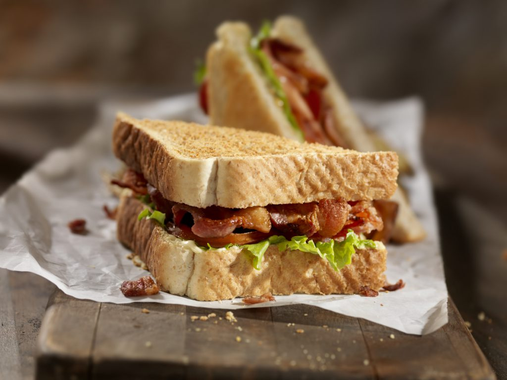 Bacon, Lettuce and Tomato Sandwich with Mayo and French Fries
