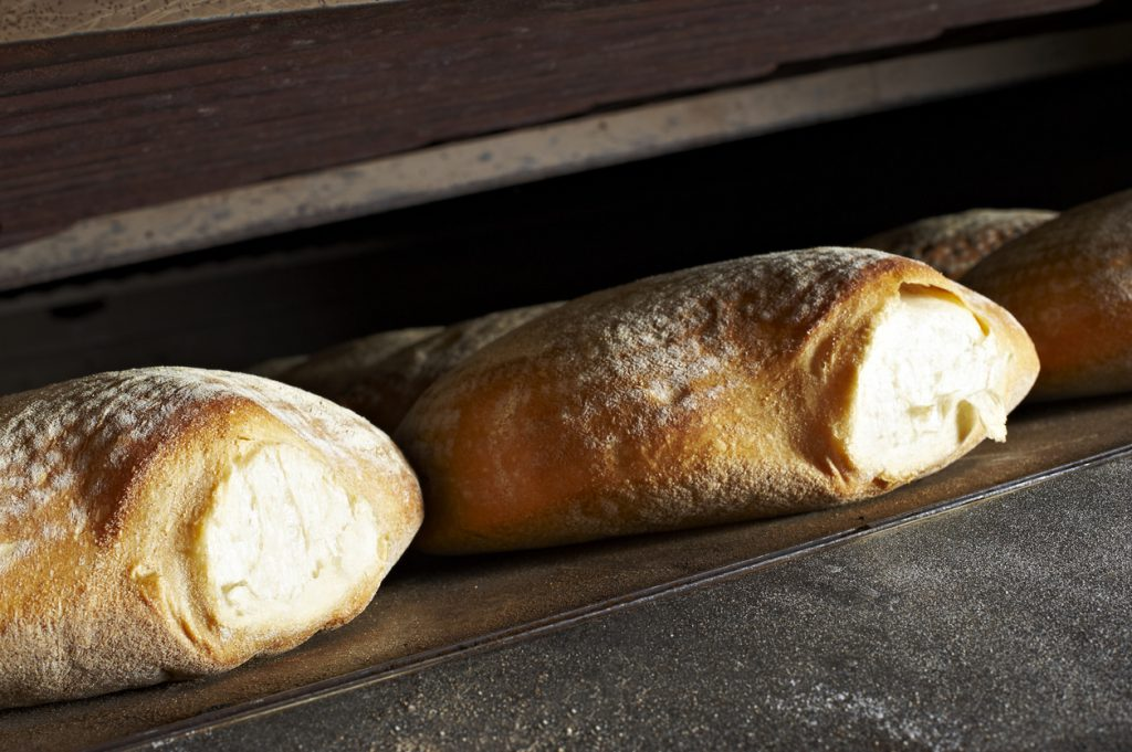 bread in oven while baking