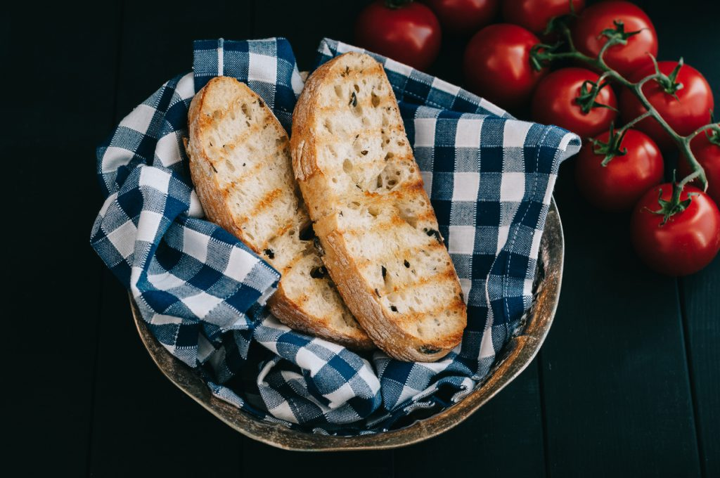 Toasted bread in bread basket